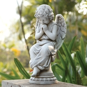 Joseph's Studio Seated Angel On a Pedestal Garden Statue