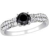 Diamore 14K White Gold 1 CTW Black and White Diamond Double Row Engagement Ring