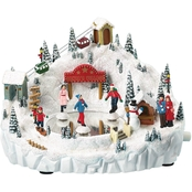 Roman Musical Light Up Santa's Village Skate Pond Decoration