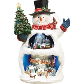 Roman Musical Light Up Snowman With Snow Scene Decoration