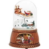 Santa in Sleigh with Reindeer Musical Jingle Bells Rotating Christmas Snow Globe