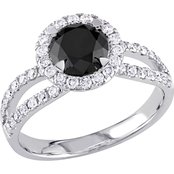 Diamore 14k White Gold 1 1/2 CTW Black and White Diamond Halo Enagement Ring