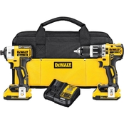 DeWalt 20V MAX* XR Li-Ion Brushless Compact Hammerdrill and Impact Driver Kit