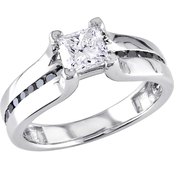 Diamore 14K White Gold 1 CTW Princess-Cut White and Black Diamond Engagement Ring