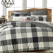 Martha Stewart Collection Montana Plaid Onyx Flannel  Duvet