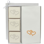 Carved Solutions EcoLuxury Soap Gift Set with Gold Linked Hearts