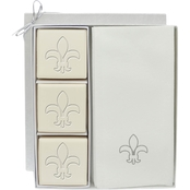 Carved Solutions EcoLuxury Soap Gift Set with Silver Fleur De Lys
