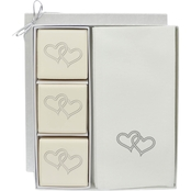 Carved Solutions EcoLuxury Soap Gift Set with Silver Linked Hearts