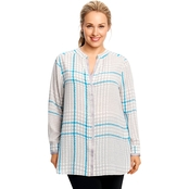 Foxcroft Plus Size Exploded Crepe Glenplaid Blouse