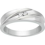 2 in Love 10K White Gold 1/7 CTW Two Stone Men's Ring