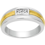 2 in Love 10K White/Yellow Gold 1/7 CTW Two Stone Men's Ring