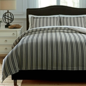 Signature Design by Ashley Navarre Duvet Cover Set, Black/Natural Contemporary