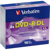 Verbatim DVD+R DL 8.5GB 8X Slim Case Disc 10 Pk.