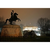 Capital Art White House Front from Lafayette Park on a Wet Wintery Night Canvas