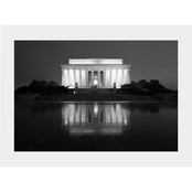 Capital Art Lincoln Memorial with a Reflection on a Wet Night B&W Matte