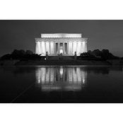 Capital Art Lincoln Memorial with a Reflection on a Wet Night B&W Canvas