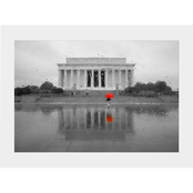 Capital Art Lincoln Memorial on a Wet Day Red Umbrella Matte