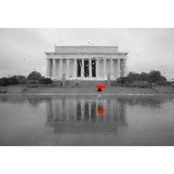 Capital Art Lincoln Memorial on a Wet Day with Red Umbrella Canvas