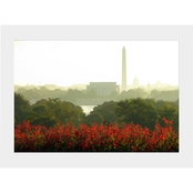 Capital Art Lincoln Memorial from the Iwo Jima on a Foggy Morning Matte