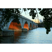 Capital Art Arlington Memorial Bridge Sunset View of the Lincoln Memorial Canvas