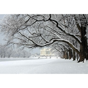 Capital Art Lincoln Memorial Morning Front View at a Distance on a Snowy Day Canvas