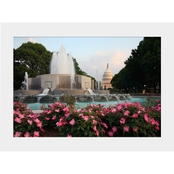 Capital Art US Capital Distant North Side View with Flowers and Fountain Matte