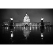 Capital Art US Capitol East Front Entrance View, During a Rainy Night B&W Canvas