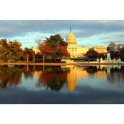 Capital Art US Capitol West Reflecting Pool View on Fall Day at Sunset Canvas