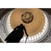 Capital Art US Capital Inside Rotunda View with George Washington Statue Canvas