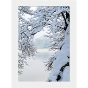 Capital Art Cherry Blossom Tree with Jefferson Memorial in Winter Wonderland Matte
