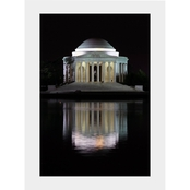 Capital Art Jefferson Memorial Reflecting in the Tidal Basin at Night Matte