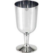 Sensations 6oz Plastic Wine Glass Silver, 6ct