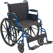 Drive Medical Blue Streak Wheelchair with Flip Back Desk Arms, Swing Away Footrests