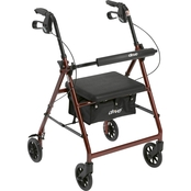 Drive Medical Walker Rollator with 6 In. Wheels, Fold Up Back Support, Padded Seat