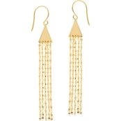 14K Yellow Gold Pyramid Hammered Forzentina Dangle Earrings