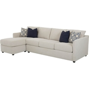 Klaussner Atlanta 2 Pc. Sectional RAF Queen Sleeper LAF Corner Sofa Curious Pearl