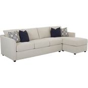 Klaussner Atlanta 2 Pc. Sectional LAF Queen Sleeper RAF Corner Sofa Curious Pearl