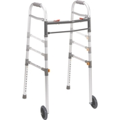 Drive Medical Two Button Folding Universal Walker with 5 In. Wheels