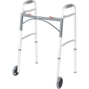 Drive Medical Deluxe Two Button Folding Walker with 5 In. Wheels