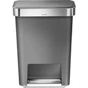 simplehuman 45 Liter Rectangular Step Can, Gray Plastic