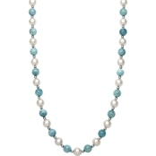 Sterling Silver Cultured Freshwater Pearl & Milky Aquamarine Necklace