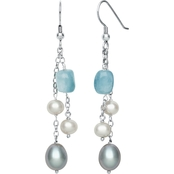 Sterling Silver Cultured Freshwater Pearl and Milky Aquamarine Earrings