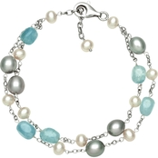 Sterling Silver Cultured Freshwater Pearl & Milky Aquamarine Bracelet