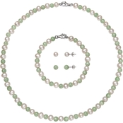 Sterling Silver Pearl and Jadeite Necklace Bracelet and Stud Earrings 4 Pc. Set