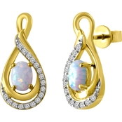 10K Yellow Goldtone Created Opal and White Sapphire Earrings