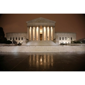 Capital Art US Supreme Court at Night in Drizzly Rain Canvas