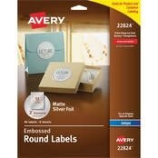 Avery Round Labels, 2 in. diameter, Silver Foil, 96 pk.
