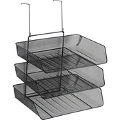 Fellowes Mesh Partition Additions Three-Tray Organizer, Black