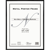 NuDell Metal Poster Frame, Plastic Face, 18 x 24 In., Black