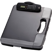 Officemate Portable Storage Clipboard Case with Calculator, Charcoal